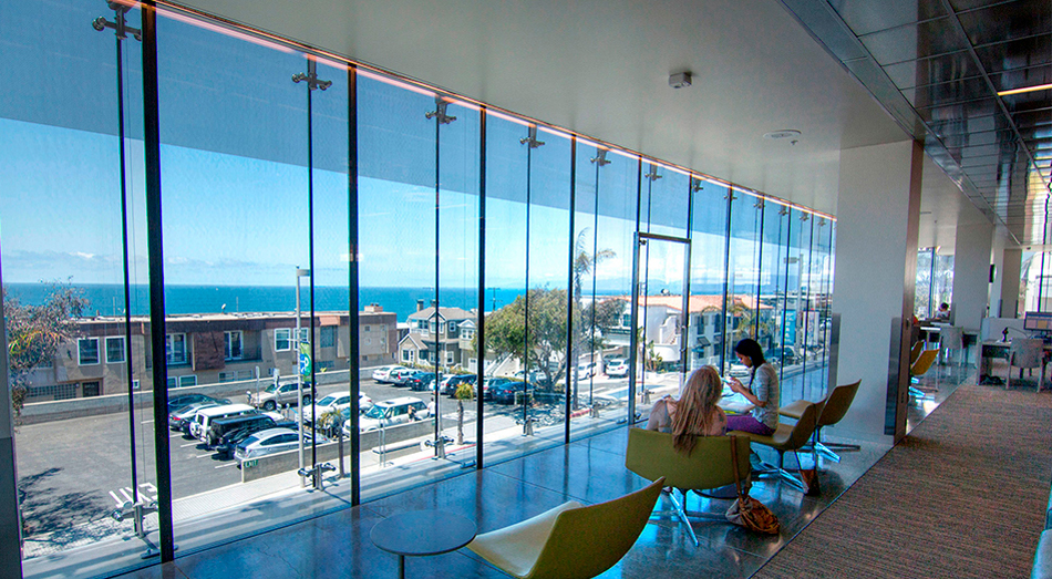 Manhattan Beach Library double skin facade glass walkable glass