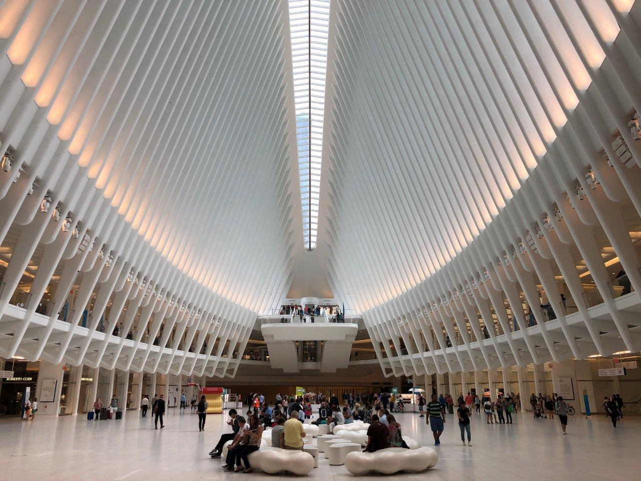 WTC Transportation Hub NYC curved guardrails extraclear glass